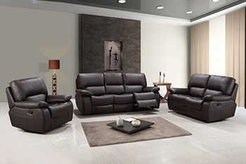 Global United Furniture 9389 Leather Gel 3PC Sofa Set in Brown color.