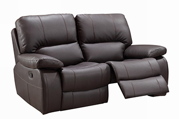 Global United 9389 - Leather Gel Loveseat in Brown color.