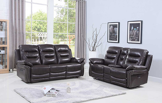 Global United 9392 - Leather Air 2PC Sofa Set in Brown color.