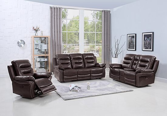 Global United 9392 - Leather Air 3PC Sofa Set with Console Loveseat in Brown color.