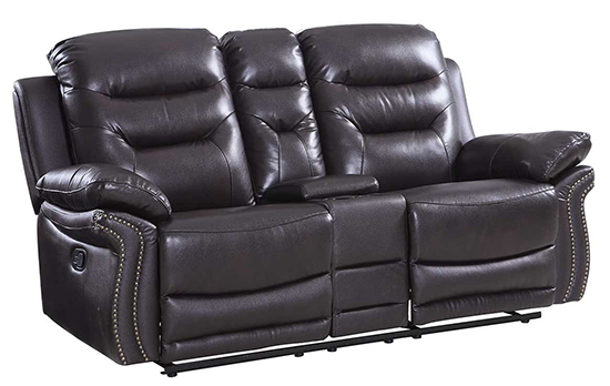 Global United 9392 - Leather Air Console Loveseat in Brown color.