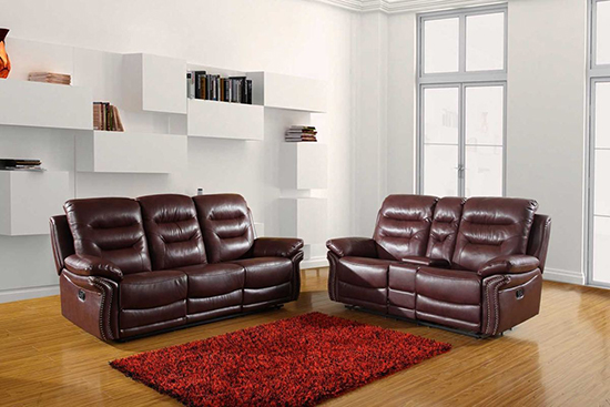 Global United 9392 - Leather Air 2PC Sofa Set with Console Loveseat in Burgundy color.