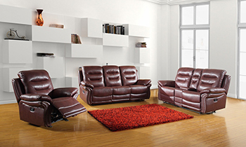 Global United 9392 - Leather Air 3PC Sofa Set with Console Loveseat in Burgundy color.