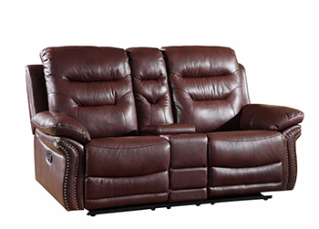 Global United 9392 - Leather Air Console Loveseat in Burgundy color.