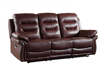 Global United 9392 - Leather Air Sofa in Burgundy color.