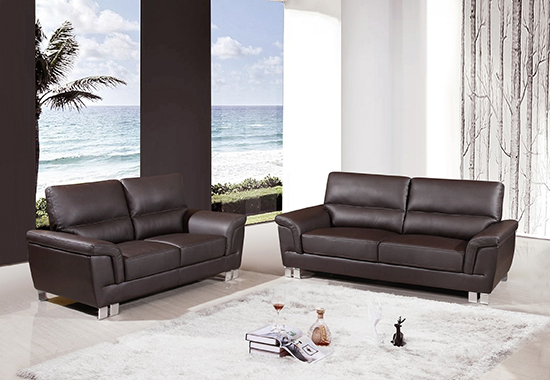 Global United Furniture 9412 Leather Gel 2PC Sofa Set in Brown color.