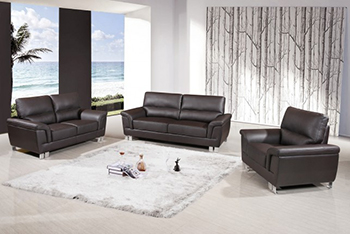 Global United Furniture 9412 Leather Gel 3PC Sofa Set in Brown color.