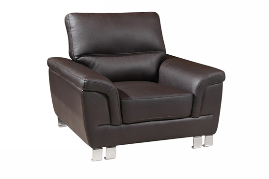 Global United 9412 - Leather Gel Chair in Brown color.