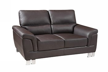 Global United 9412 - Leather Gel Loveseat in Brown color.