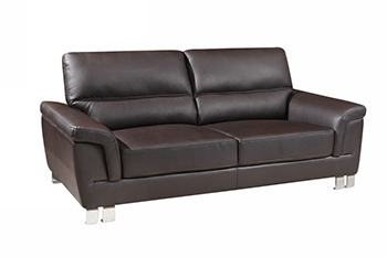 Global United 9412 - Leather Gel Sofa in Brown color.