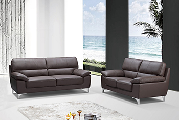 Global United Furniture 9436 Leather Gel 2PC Sofa Set in Brown color.
