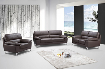 Global United Furniture 9436 Leather Gel 3PC Sofa Set in Brown color.