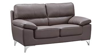 Global United 9436 - Leather Gel Loveseat in Brown color.
