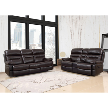 Global United Furniture 9442 Brown Leather Air 2PC Sofa and Loveseat Set.