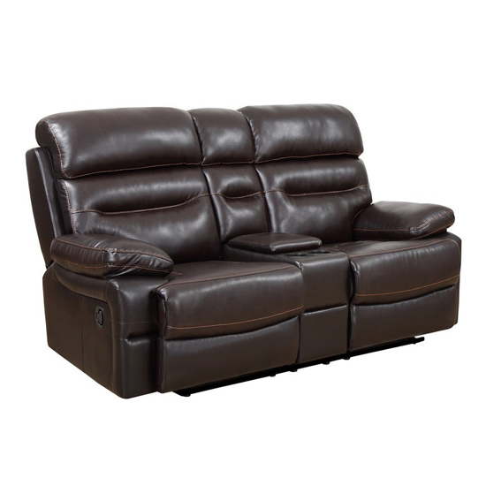 Global United Furniture 9442 Brown Leather Air Loveseat.