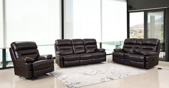 Global United Furniture 9442 Brown Leather Air 3PC Sofa Set.