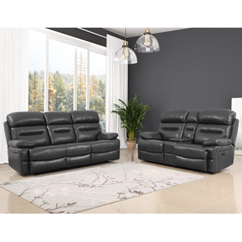 Global United Furniture 9442 Gray Leather Air 2PC Sofa and Loveseat Set.