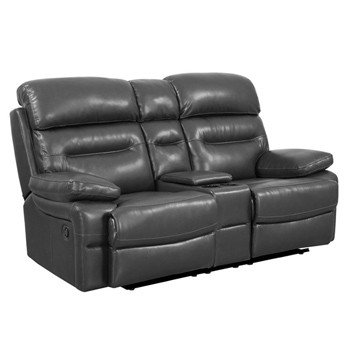 Global United Furniture 9442 Gray Leather Air Loveseat.