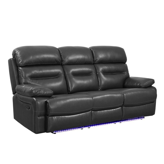 Global United Furniture 9442 Gray Leather Air Sofa.