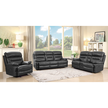 Global United Furniture 9442 Gray Leather Air 3PC Sofa Set.