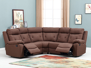 Global United 9443 - Microfiber Sectional in Brown Color.