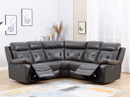Global United 9443 - Leather Air Sectional with Power Recliners in Dark Gray Color.