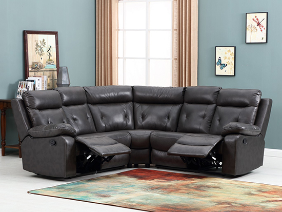 Global United 9443 - Leather Air Sectional in Dark Gray Color.