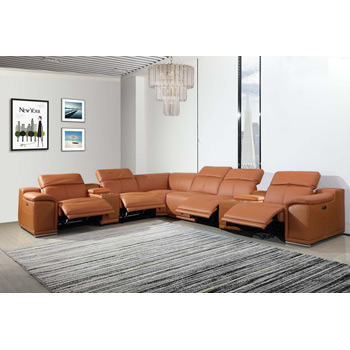 Global United 9762 Camel Genuine Italian Leather 3-Power Reclining 8PC Sectional with 2-Consoles. 9762-CAMEL-3PWR-8PC