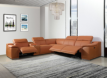 Global United 9762 Camel Genuine Italian Leather 3-Power Reclining 6PC Sectional with 1-Console. 9762-CAMEL-3PWR-6PC