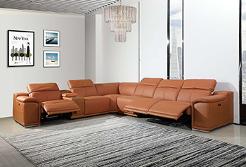 Global United 9762 Camel Genuine Italian Leather 3-Power Reclining 7PC Sectional with 1-Console. 9762-CAMEL-3PWR-7PC