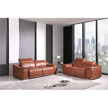 Global United 9762- Genuine Italian Leather 2PC Power Recycling Sofa Set in Camel color.