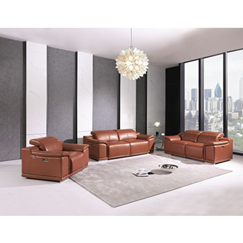 Global United 9762- Genuine Italian Leather 3PC Power Recycling Sofa Set in Camel color.