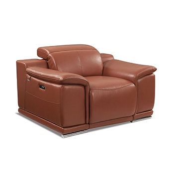 Global United 9762 - Genuine Italian Leather Power Reclining Chair in Camel color.