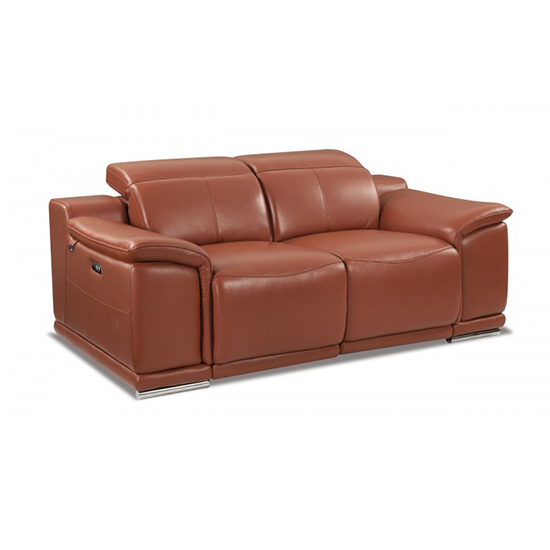 Global United 9762 - Genuine Italian Leather Power Reclining Loveseat in Camel color.