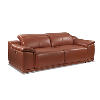 Global United 9762 - Genuine Italian Leather Power Reclining Sofa in Camel color.