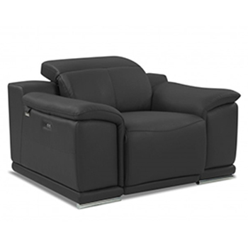 Global United 9762 - Genuine Italian Leather Power Reclining Chair in Dark Gray color.