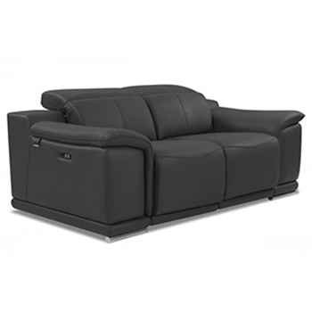 Global United 9762 - Genuine Italian Leather Power Reclining Loveseat in Dark Gray color.