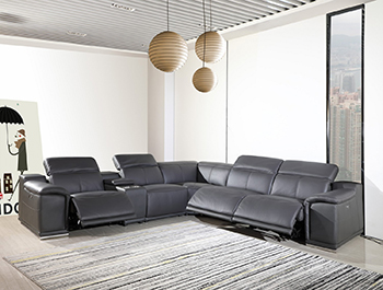 Global United 9762 Dark-Grey Genuine Italian Leather 3-Power Reclining 6PC Sectional with 1-Console. 9762-GRAY-3PWR-6PC
