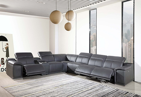 Global United 9762 Dark-Grey Genuine Italian Leather 3-Power Reclining 7PC Sectional with 1-Console. 9762-GRAY-3PWR-7PC