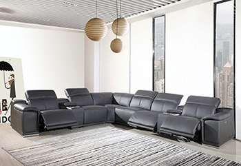 Global United 9762 Dark Grey Genuine Italian Leather 3-Power Reclining 8PC Sectional with 2-Consoles. 9762-GRAY-3PWR-8PC