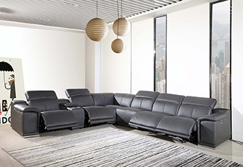 Global United 9762 Dark-GreyGenuine Italian Leather 4-Power Reclining 7PC Sectional with 1-Console. Copy 9762-GRAY-4PWR-7PC
