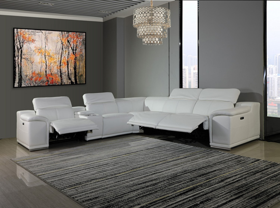 Global United Furniture 9762 White Genuine Italian Leather 3-Power Reclining 6PC Sectional with 1-Console.