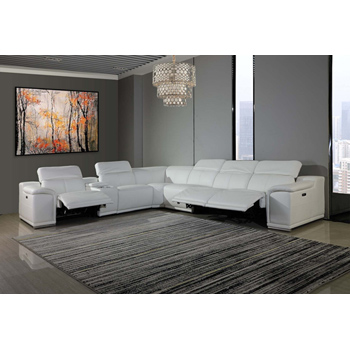 Global United Furniture 9762 White Genuine Italian Leather 3-Power Reclining 7PC Sectional with 1-Console.