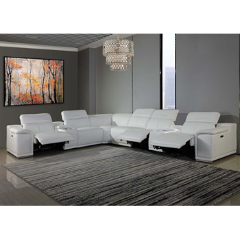 Global United Furniture 9762 - White 3-Power Reclining 8PC Sectional with 2-Consoles.