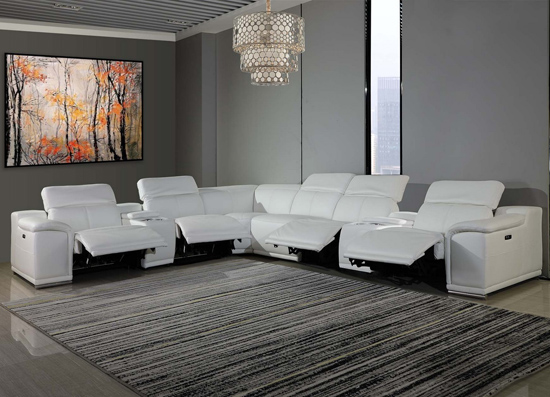 Global United Furniture 9762 - White 4-Power Reclining 8PC Sectional /w 2-Consoles