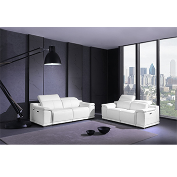 Global United 9762- Genuine Italian Leather 2PC Power Recycling Sofa Set in White color.