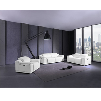 Global United 9762- Genuine Italian Leather 3PC Power Recycling Sofa Set in White color.