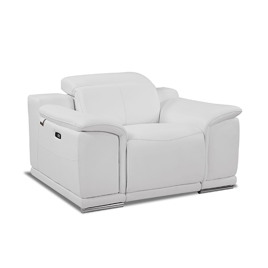 Global United 9762 - Genuine Italian Leather Power Reclining Chair in White color.