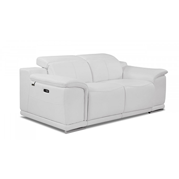 Global United 9762 - Genuine Italian Leather Power Reclining Loveseat in White color.