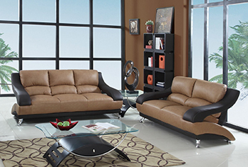 Global United Furniture 982 Leather Match 2PC Sofa Set in Two-Tone color.